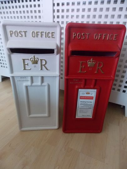 Red or white royal mail boxes