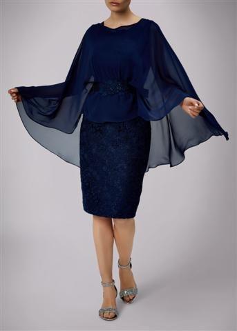 Lace dress under chiffon cape