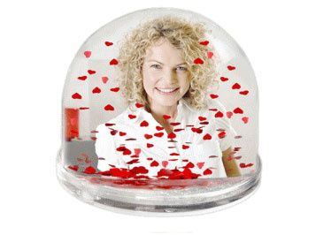 Snow Dome with red hearts