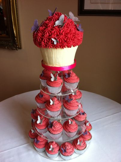 Giant cupcake and muffins