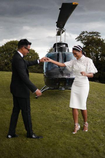 Helicopter wedding journey