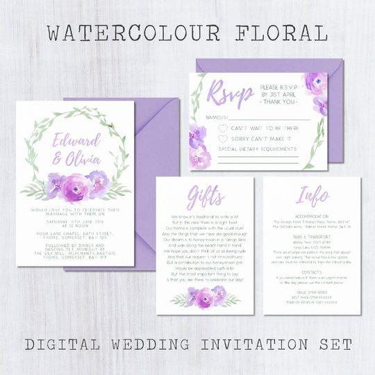 Watercolour Floral Invite Set