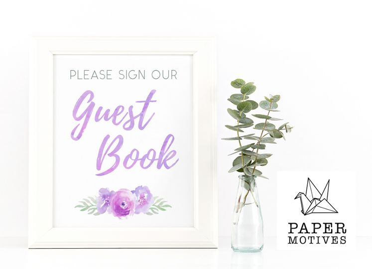 Watercolour Guest Book Sign