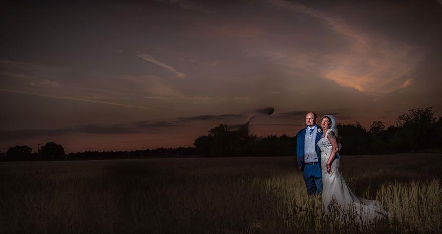 Sunset staged wedding photo