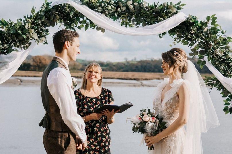 Celebrant and newlyweds