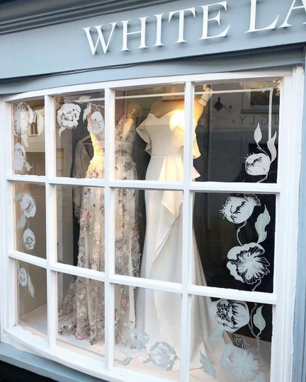 Dresses in the window