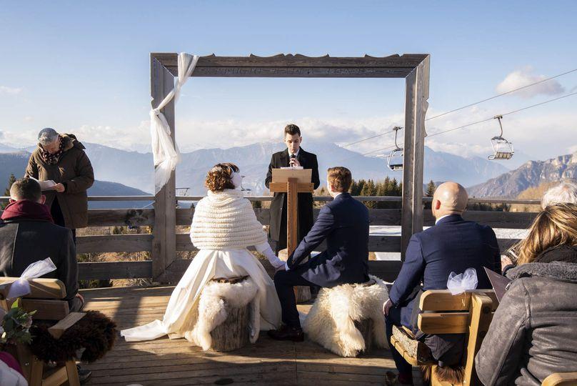 Winter wedding ceremony, Italy