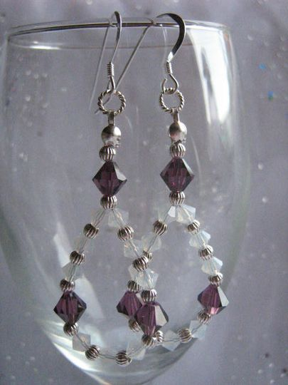 Earrings of crystals and sterling silver