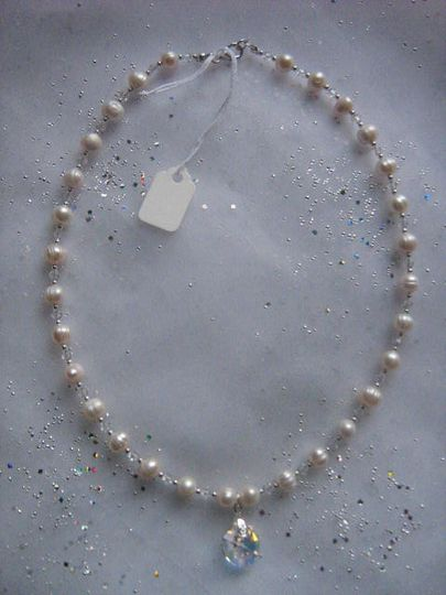 Necklace of freshwater pearls, crystals and sterling silver