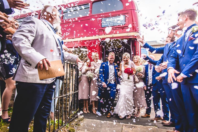 Newlyweds showered in confetti