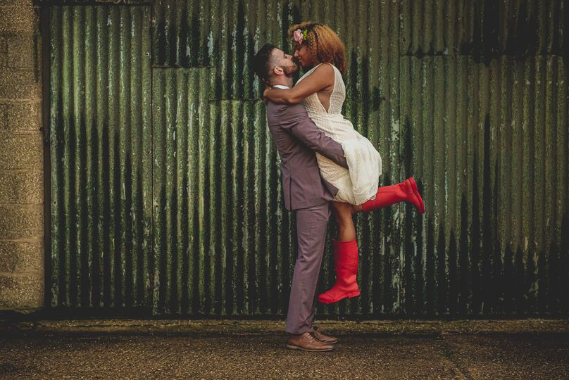 Bride in red wellies.
