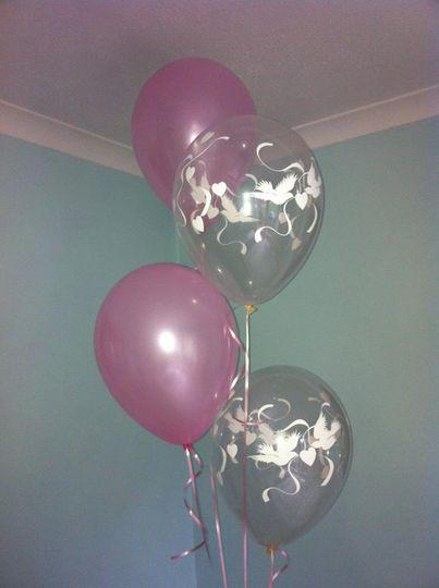 Dove heart balloons