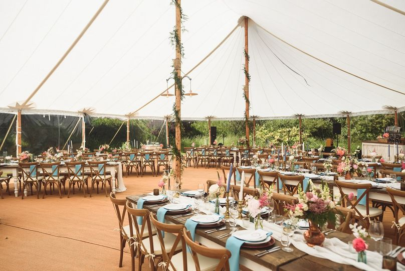 Wedding in sailcloth tent