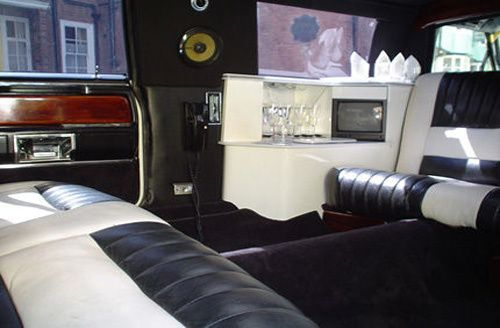 Inside of excalibur white limo
