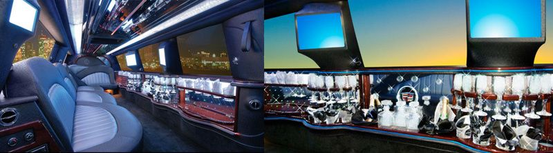Inside of pink limousine