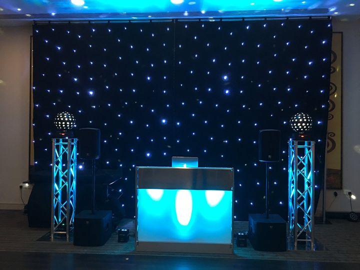 DJ Setup with Black Backdrop