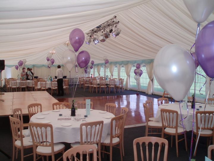 Lined Marquee with Dance Floor Lights