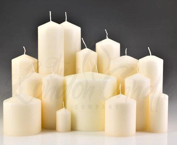Ivory Pillar Candles - HUGE Range Of Sizes