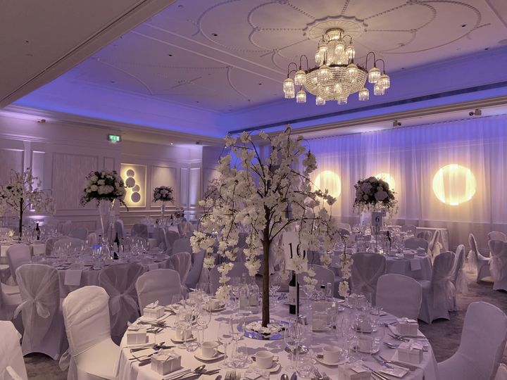 White-and-cream themed reception