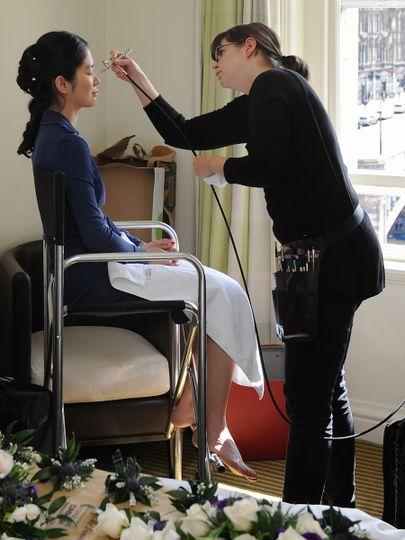 Christine using the airbrush