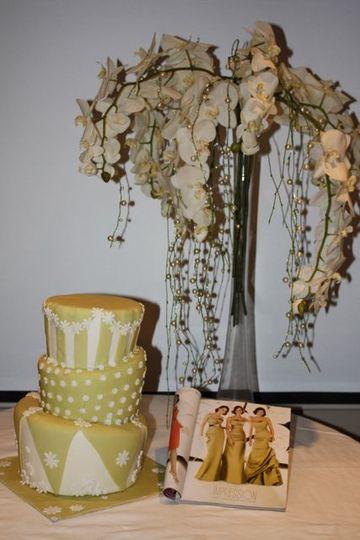 Green topsy turvy cake