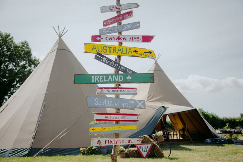 Signs outside tipis