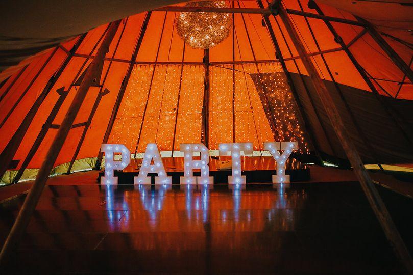 PARTY sign on dancefloor