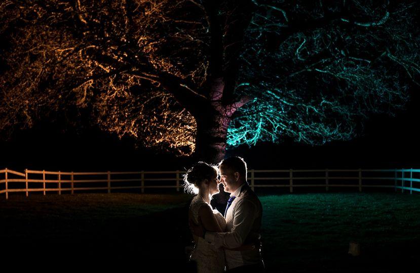 Colourful wedding flash photo