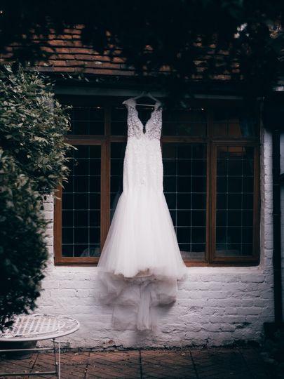 The brides beautiful dress