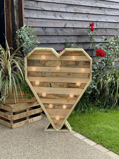Large rustic light up heart