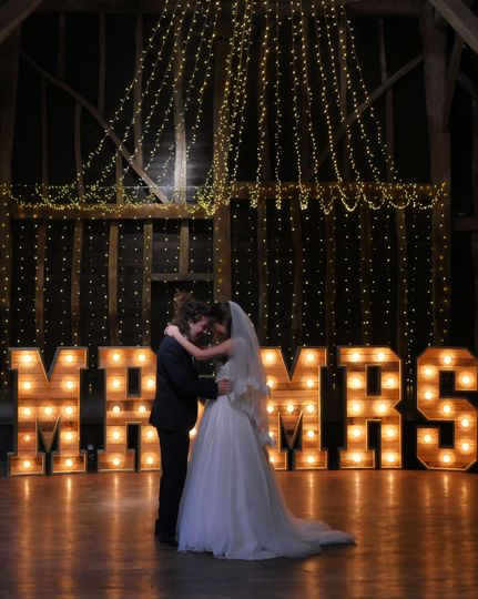 First dance with backdrop