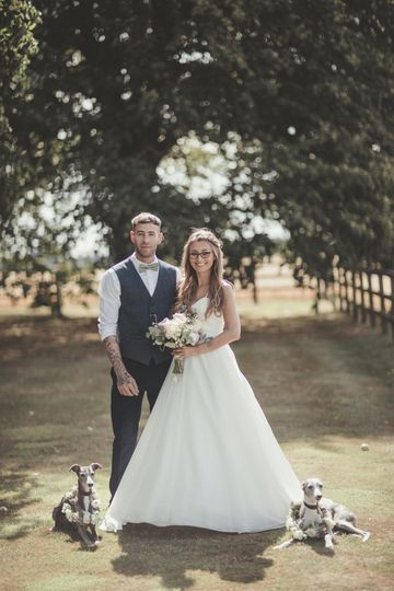 A couple with their dogs