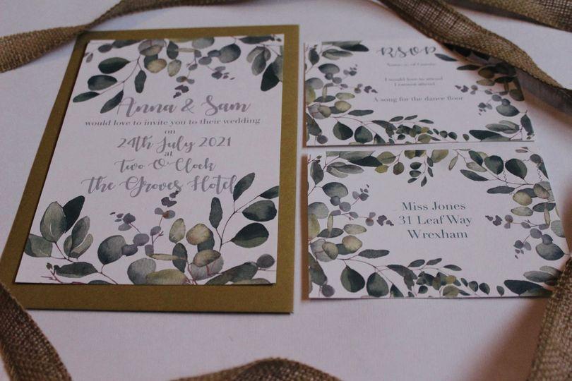 Wedding stationery with greenery