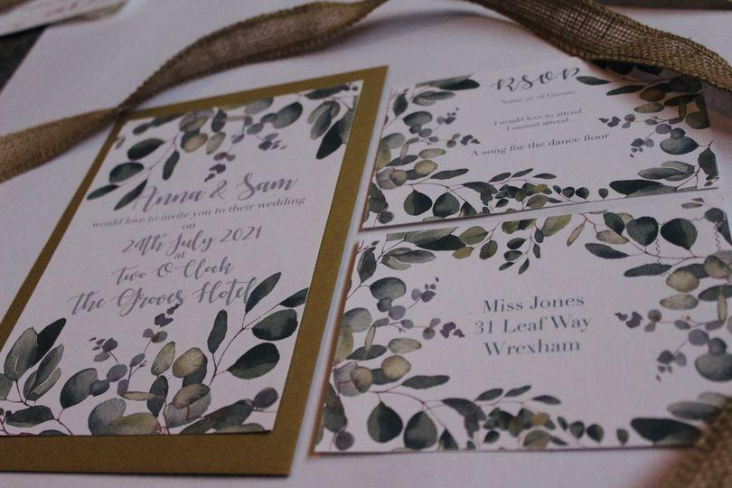 Details of wedding invites
