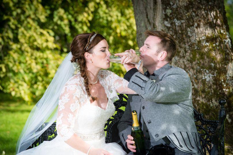 Newlyweds champagne toast