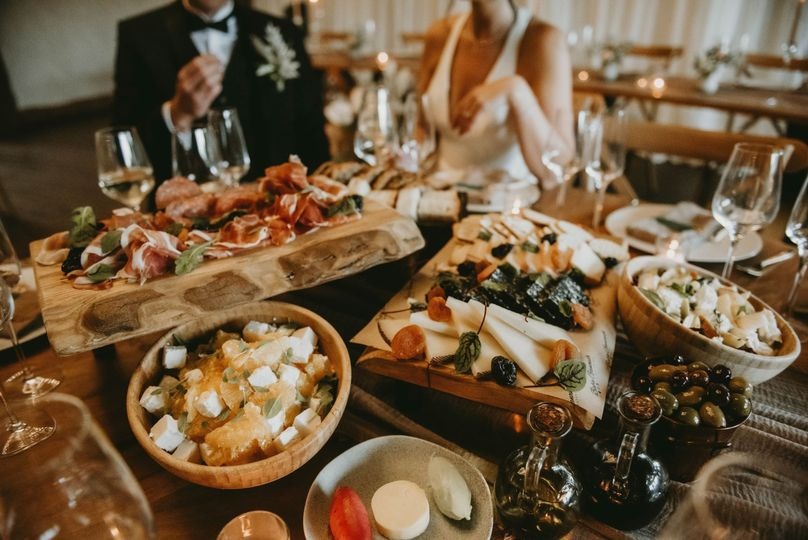 Grazing feast for rustic receptions