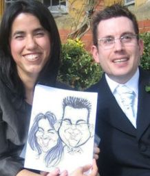 Guests with their caricature