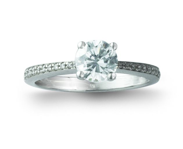 4 claw 1.01ct diamond engagement ring with diamond shoulders