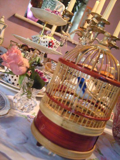 Vintage birdcage center piece