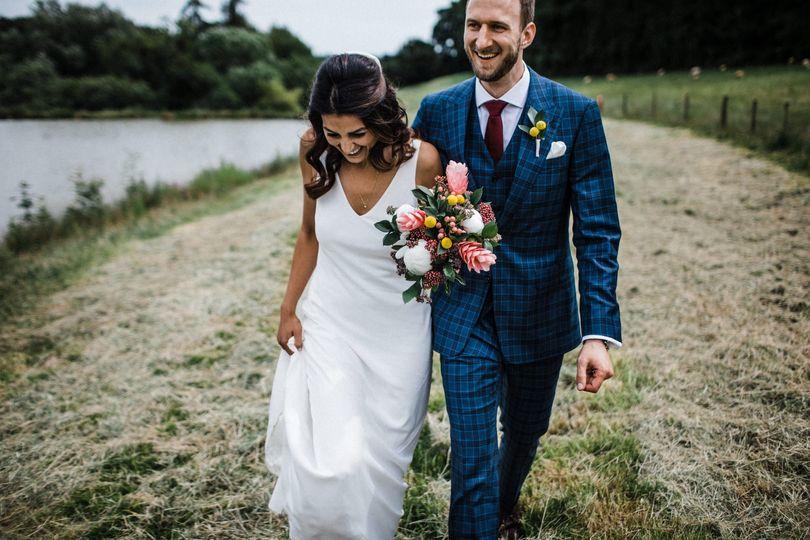 Lakeside wedding stroll