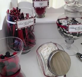 Black, red and white sweets