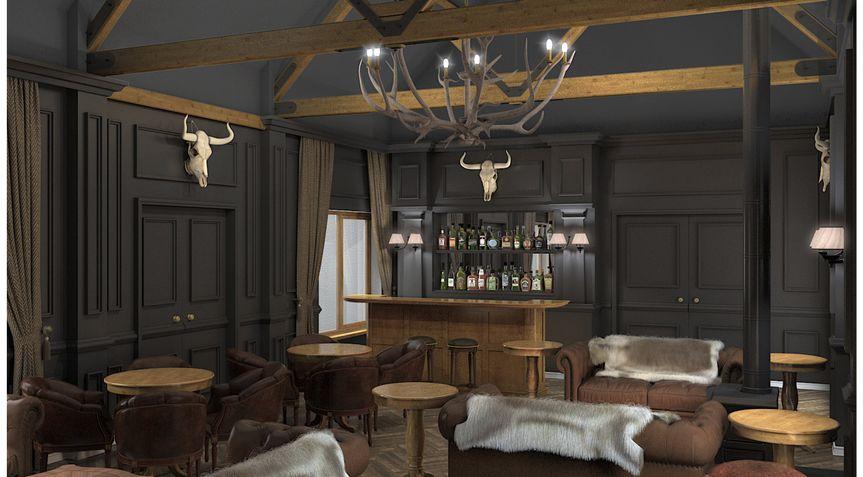 3d render.Bar area towards bar