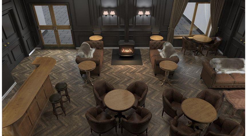 3d render. Bar area stove