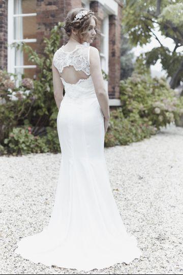 Lace Silk open back dress