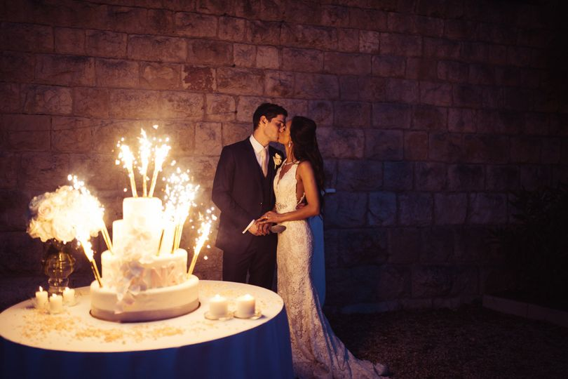 Cake cutting and fireworks