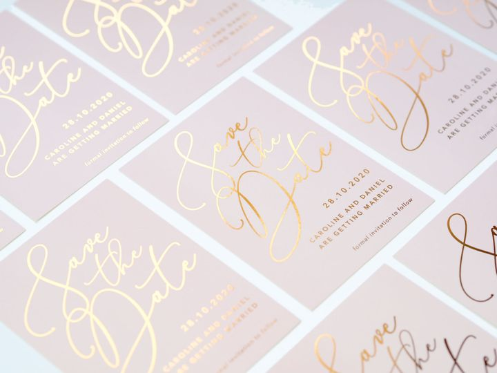 Foil printed save the dates