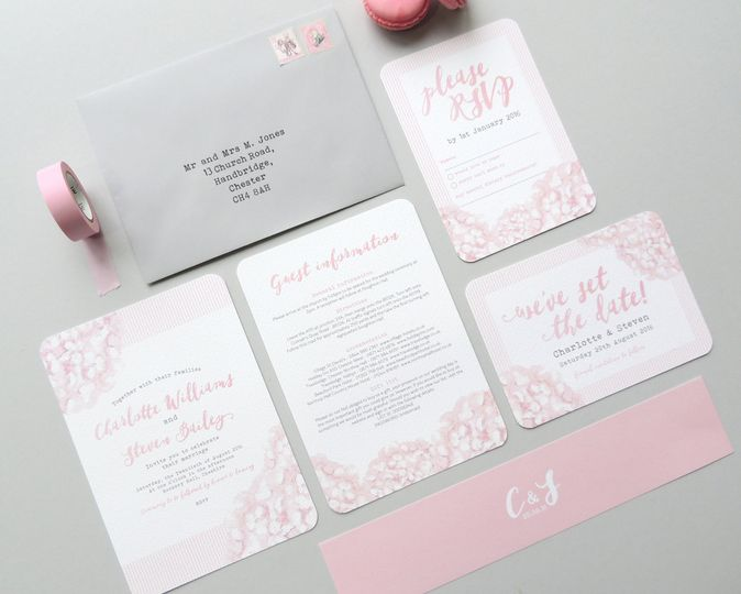 Hydrangea wedding invitations by Project Pretty