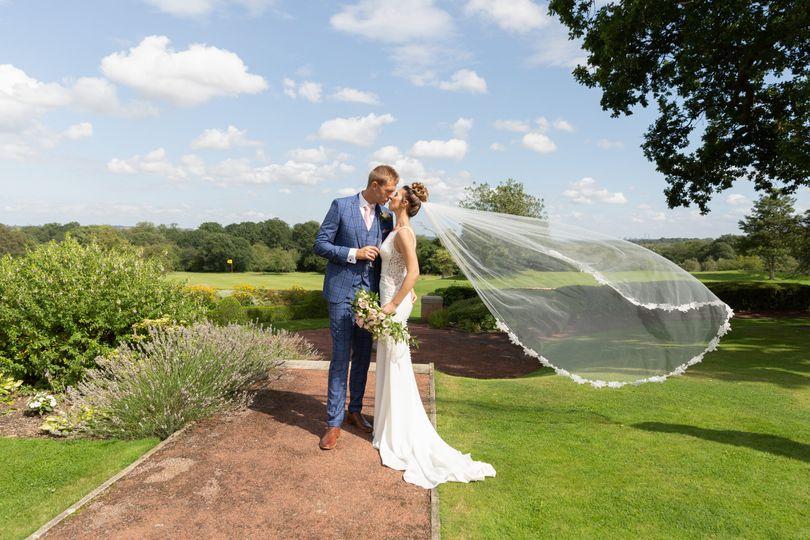 Bride and groom veil shot