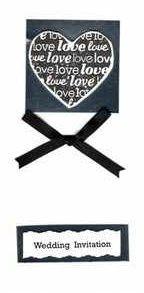 Black love heart invitation