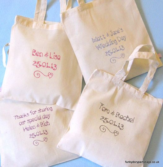 Wedding favour tote bags